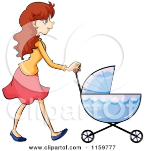 1159777-Cartoon-Of-A-Mother-Walking-With-A-Baby-Stroller-Royalty-Free-Vector-Clipart