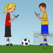 Soccer kids texting